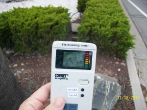 About five feet away from smart water meter radiation levels still notable.
